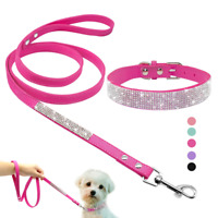Rhinestone Diamante Dog Collar Soft Suede Leather for Puppy Cat Chihuahua Yorkie