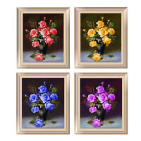 5D Diamond Painting Embroidery Round Stone Cross Mosaic Rose Flower Home DecorSK