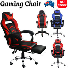 Gaming Office Chair PU Leather Executive Racing Footrest Computer Seat Backrest