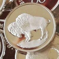 1 Gram .999 Fine Silver Fractional Bullion Round - Buffalo Design