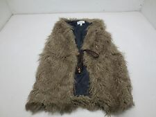Nikki Poulos Sleeveless Draw String Mongolian Faux Fur Vest - XS - Brown