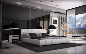 Bett 140x200 Doppelbett LED Designerbett Polsterbett Bettgestell Kunstleder weiß