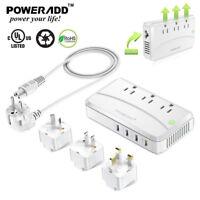 Poweradd 220V to 110V  UK/US/AU Travel Voltage Converter Adapter International