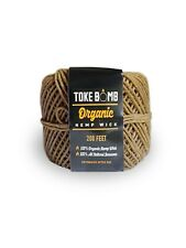 TokeBomb 200ft 100% Organic Hemp Wick Roll - 1mm - Beeswax Coating Lighter