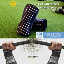 Crossfit Knee Sleeve Brace Squat Support Wrist Wrap Heavy Duty Weight Lifting