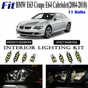 11 Bulbs Xenon White LED Interior Light Kit For BMW E63 Coupe E64 Cabriolet