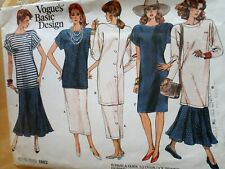 Vogue Sewing Pattern #1882-DRESS-TUNIC-TOP-SKIRT-Basic Designs-Size: 8-12-Uncut