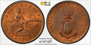 PCGS MS-64 RED-BN PHILIPPINES 1 CENTAVO 1944 -S