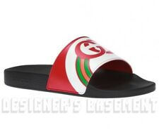 GUCCI 13G rainbow INTERLOCKING G rubber PURSUIT slides FLIP-FLOPS shoes NIB Auth
