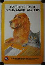 Affiche GMF ASSURANCE SANTÉ des ANIMAUX FAMILIERS 1986