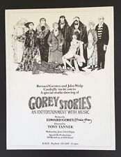 Edward Gorey *Poster for Gorey Stories* ILLUS. & SIGNED BY GOREY - RARE