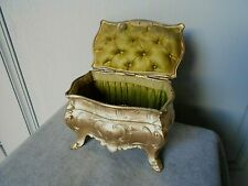 1950s Antique French Footed spelter Jewelry Casket Box