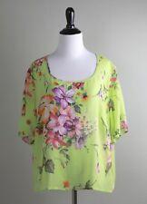 MARINA RINALDI Italy $365 100% Silk Sheer Garden Floral Blouse Top Size 23 US 14