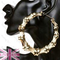 "10cm JUMBO BAMBOO HOOP EARRINGS 4""big GIANT gold/silver fashion XL HOOPS metal"