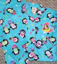 New! Girls Happy Peguins 2 pc Pajama Set (Fleece; PJ; Sleepwear) - XS 4-5