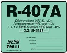 R-407A / R407A HFC-32  HFC-125  HFC-134a Refrigerant Label # 79511 , Sold Each