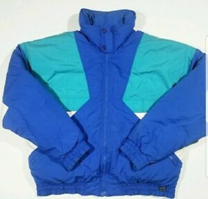 Vintage White Stag Ski Snow Board Jacket Colorblock Puffer Coat Large 80s 90s