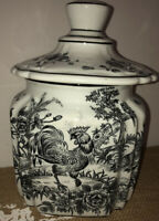 Farmhouse Black/White Provence Toile Canister Country Rooster Lid Ceramic Rare
