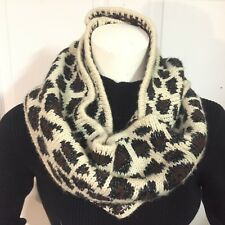 BETSEY JOHNSON HOOD & Scarf Combo Knitted INFINITY Cheetah Leopard Acrylic