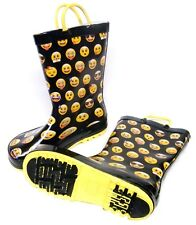 Kids Girls Black Yellow Mojo Faces Wellington Wellies Boots Size 11/12