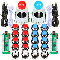 Arcade Buttons joystick Cabinet Kit Chrome Plating LED Buttons for Mame PC Games