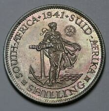 1941 South Africa Silver Shilling Coin George VI KM# 28 Hern#S216 Toned