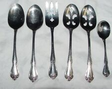 New listing 6 Pieces 1881 Rogers Stainless Oneida Ltd Arbor Rose Serving Spoons Meat Fork+