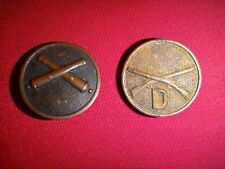 2 US Army Metal Badges: FIELD ARTILLERY Corps + INFANTRY CO. D Enlisted Insignia