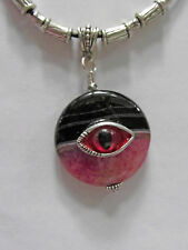 "PINK STRIPED Agate PENDANT w/Dragon EYE CHARM on 20-22"" BEADED Blk Leather Neklc"