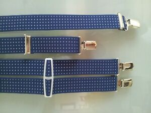 Trouser Braces WOVEN 35mm with 4 Heavy-Duty Quality Clips Classic Suspenders New
