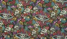 Alexander henry folklorico Catrina chiquita skull mexican black fabric fq