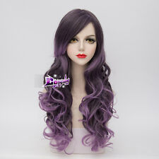 65CM Mixed Purple Long Curly Hair Lolita Ombre Lady Girls Cosplay Wig + Cap