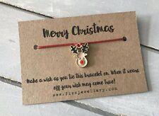 Merry Christmas Gold Enamel Rudolph Reindeer Message Card Tie Wish Bracelet Gift