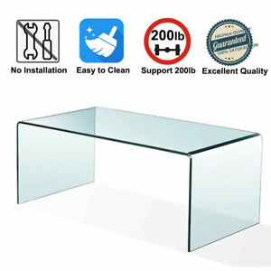 Tempered Glass Coffee Table Accent Cocktail Side Table for Living Room Furniture