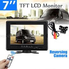 "Waterproof Car Reversing Backup Parking Camera + 7"" LCD Monitor Rear View Kit"