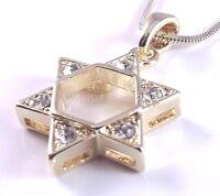 Star Of David Magen Judaica Necklace Pendant Kabbalah Gold Crystal Stones Jewish