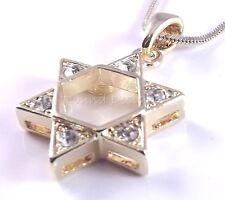 Étoile De David Magen Judaica Pendentif Kabbale Or Cristal Pierres Juif