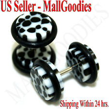 0277 Fake Faux Cheaters Illusion Ear Plugs 16G White Cheeta Dots 0G Earrings