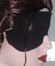 1 große Augenmaske Echt LEDER Entspannungsmaske schwarz mit Gummiband