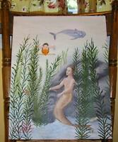 MERMAID MERMAN DOLPHIN FOLK ART SEA WEED AMERICAN LISTED ARTIST OIL PAINTING