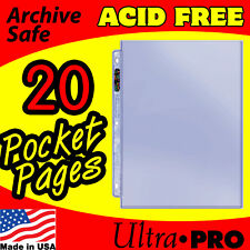 (20) 1 POCKET 8.5x11 PHOTO PAGES ULTRA PRO PLATINUM ACID FREE 3 HOLE 211D-20