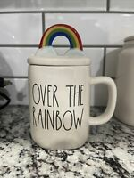 "New ~ Rae Dunn ""OVER THE RAINBOW"" Mug With Rainbow Topper"