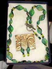 SUNDANCE Fashion Necklace & Earrings Set Blue Green NWT