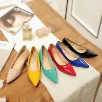 Ladies Candy Colors Low Heels Pointy Toe Shoes Ladies Patent Leather Pumps Shoes