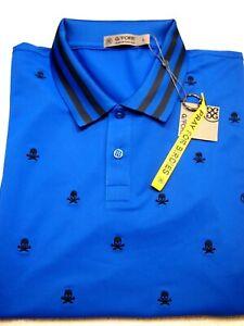 G/FORE Performance Fabric Skull & Tees Slim Fit Polo Golf Shirt NWT L $145 Blue