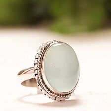 925 Sterling Silver Natural Aqua Chalcedony Cab Handmade Ring US 6