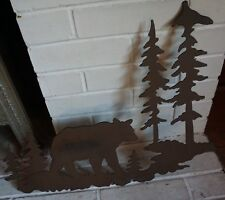 "20"" BROWN BEAR METAL SCULPTURE SIGN Forest Rustic Lodge Log Cabin Home Decor NEW"