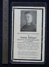 Wwii German Funeral Card Sterbebild Anton Altinger June 7, 1940 Abbeville France