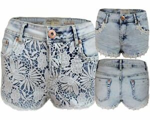New Women Ladies Lace Lining Daisy Floral Short Jeans Acid Blue Hot Pant 6-12