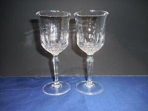 2 LEGACY Gold Anchor Hocking Crystal Wine Glasses Ray Diamond Cut   6 3/4